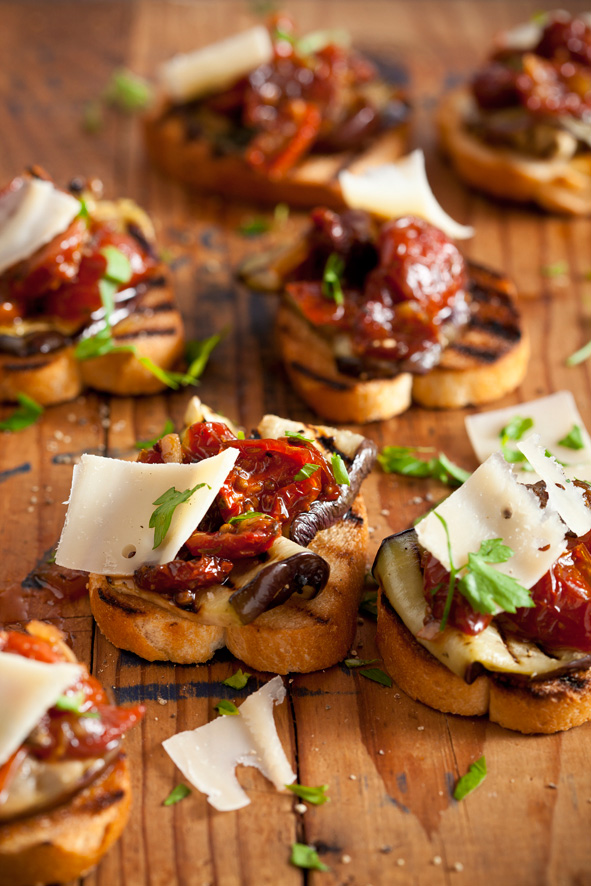 Pronto Mama Recipe Cherry Tomato Grilled Aubergine Bruschetta
