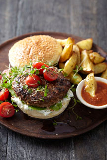 Burger with Pronto Mama Harissa Sauce