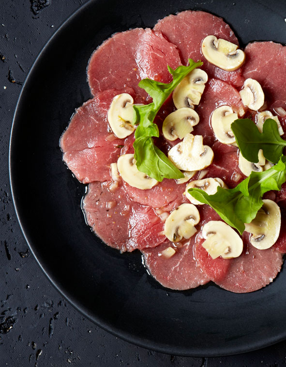 Carpaccio with Pronto Mama Marinated Mushrooms