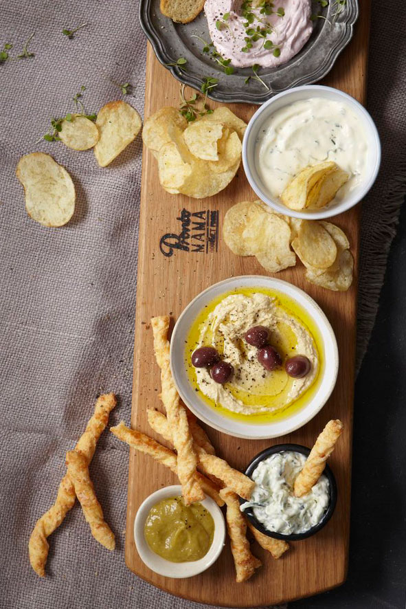 Dip Platter using Pronto Mama Caremelised Garlic and Jalapeno Paste