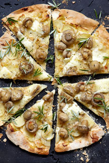 Mushroom Potatoe Telleggio Pizza with Pronto Mama Marinated Mushrooms
