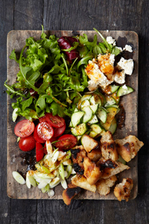Rustic salad with croutons and Pronto Mama Salad Splash