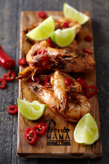 Smokerboard Prawns with Pronto Mama Harissa Sauce