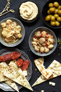 Tapas Platter with Pronto Mama Marinated Mushrooms